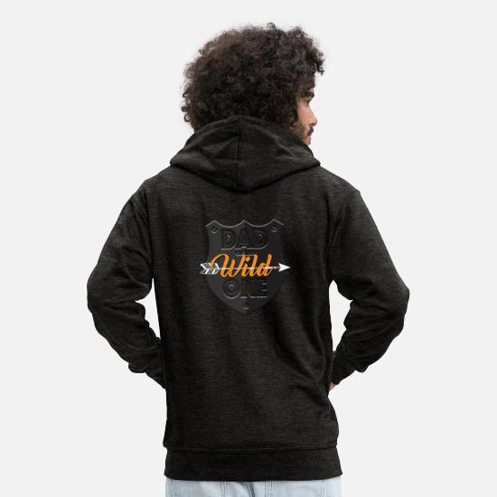 Gift Idea Hoodies & Sweatshirts - Father of the Wild - Gift - Men's Premium Zip Hoodie charcoal grey