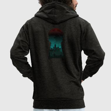 Gift silhouette city skyline keyhole - Men's Premium Hooded Jacket