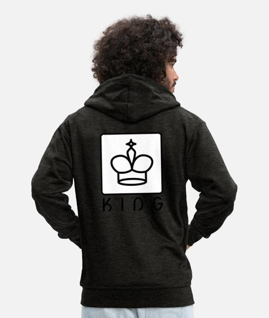 Chess Hoodies & Sweatshirts - king - Men's Premium Zip Hoodie charcoal grey