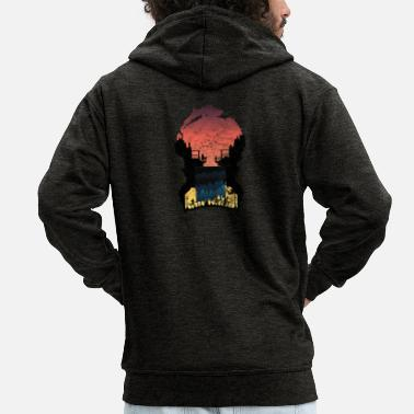Smog Sunset silhouettes life gift city - Men's Premium Hooded Jacket