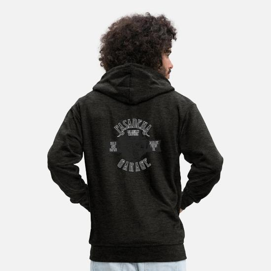 Birthday Hoodies & Sweatshirts - Pasadena garage - Men's Premium Zip Hoodie charcoal grey