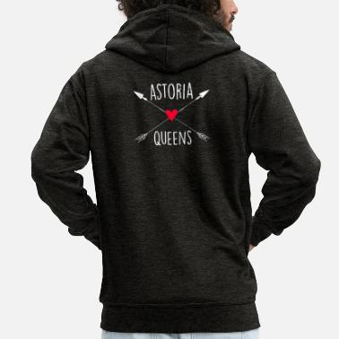Neighborhood Astoria Queens NYC Arrows and Heart - Men's Premium Zip Hoodie