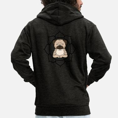 Meditation cute cool meditation yoga pug pug dog - Men's Premium Zip Hoodie