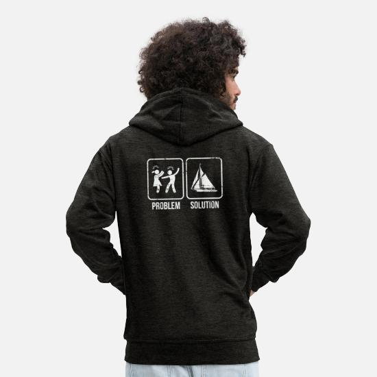 Birthday Hoodies & Sweatshirts - Sailing captain sailor anniversary marriage husband wife - Men's Premium Zip Hoodie charcoal grey