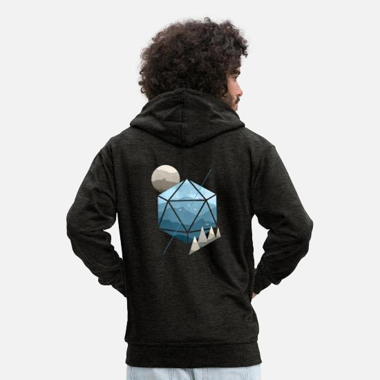 And Sweaters & hoodies - Dungeons & Dragons (NS) aquarel D20 - Mannen premium zip hoodie houtskool