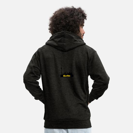 Berlin Hoodies & Sweatshirts - Berlin yellow + sights skyline - Men's Premium Zip Hoodie charcoal grey