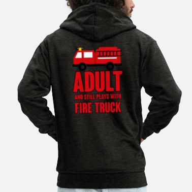 Fire Fire Department: Adult and still plays with fire truck - Men's Premium Zip Hoodie