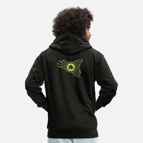 South Hoodies & Sweatshirts - Sicily Yellow - Men's Premium Zip Hoodie charcoal grey