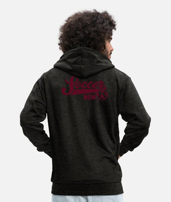 Mummy Hoodies & Sweatshirts - Soccer MOM - Men's Premium Zip Hoodie charcoal grey