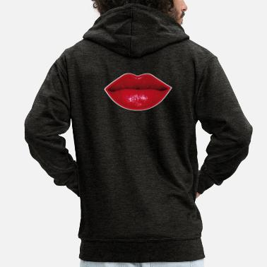 Mouth Red lips red mouth lipstick - Men's Premium Zip Hoodie