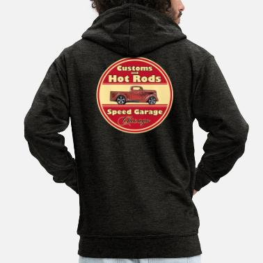 Hot Hot Rod (vintage logo) - Men's Premium Zip Hoodie