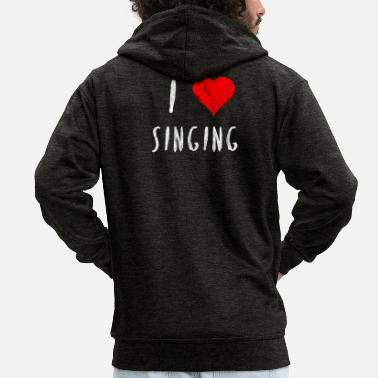 I Heart Karaoke I love singing singer dancer club party gift - Men's Premium Zip Hoodie