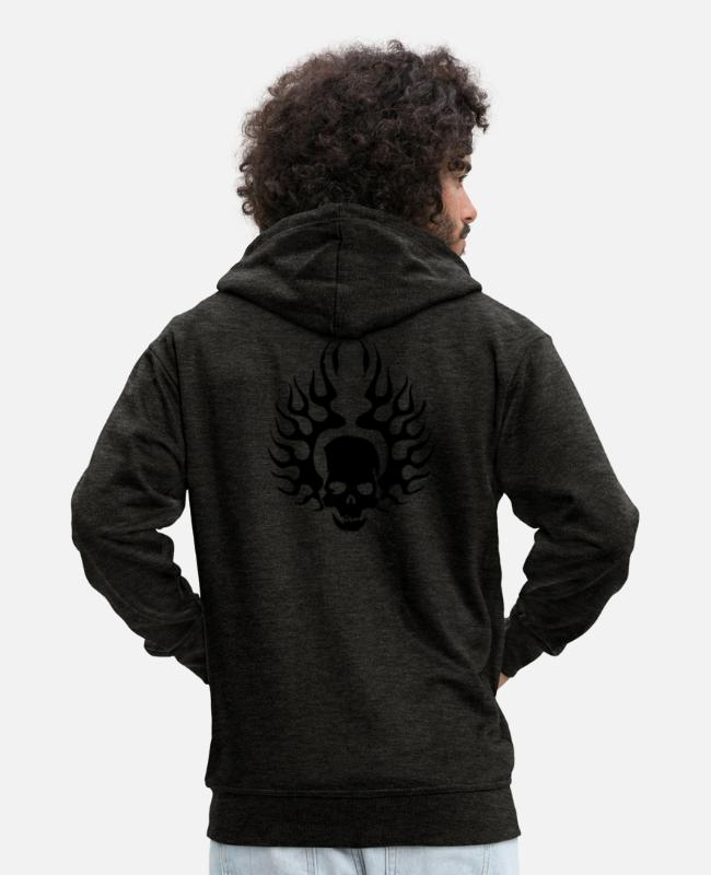 Skull And Crossbones Hoodies & Sweatshirts - Burning Skull - Men's Premium Zip Hoodie charcoal grey