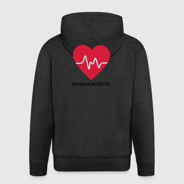 heart Massachusetts - Men's Premium Hooded Jacket
