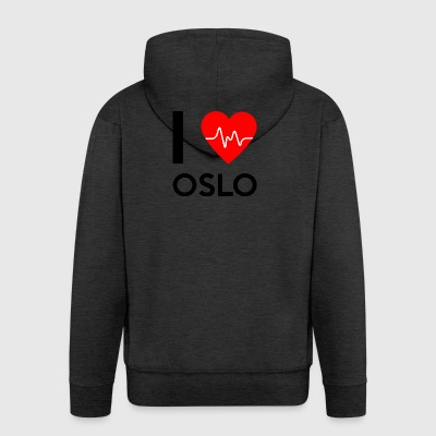 I Love Oslo - I Love Oslo - Men's Premium Hooded Jacket