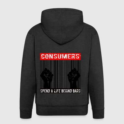 Consumers spend a life behind bars - Men's Premium Hooded Jacket