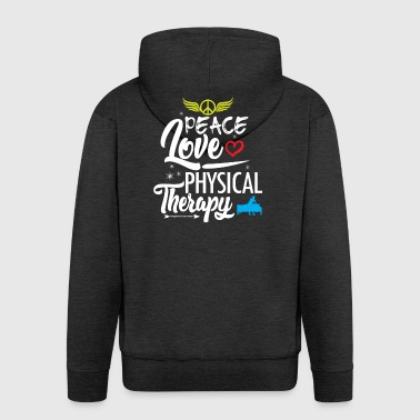 Physiotherapy Peace Love Anniversary - Men's Premium Hooded Jacket