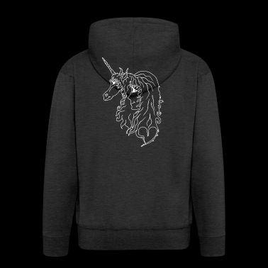 Girl and unicorn line drawing white - Men's Premium Hooded Jacket