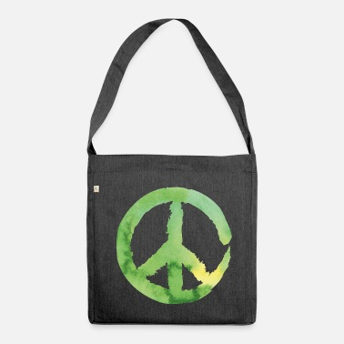 Green Peace Peace sign - watercolor green - Shoulder Bag made from recycled material