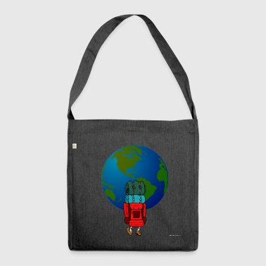 Black backpacker - Shoulder Bag made from recycled material