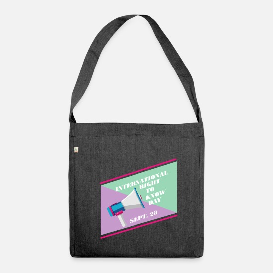 Politics Bags & Backpacks - International Freedom of Information Day - Shoulder Bag recycled heather black