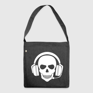 Gamer Skull with Headset (White) - Shoulder Bag made from recycled material