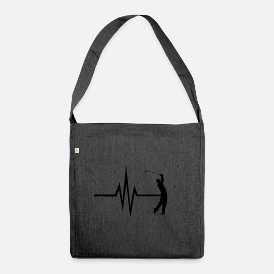 Golf Bags & Backpacks - My heart beats golf - golfers golf ball - Shoulder Bag recycled heather black