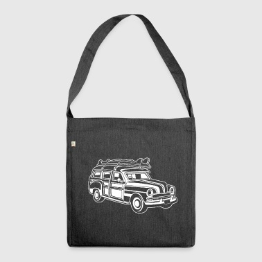 Chevy Cadilac Woodie / Oldtimer Kombi 01_weiß - Schultertasche aus Recycling-Material