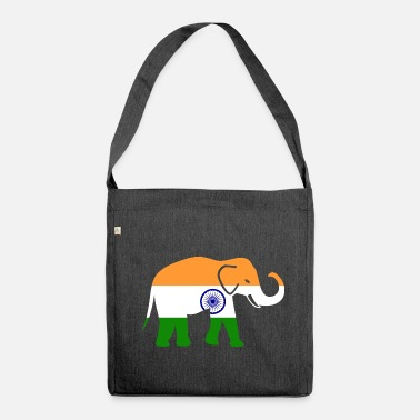 Hindi India bandera elefante Hindi Mumbai regalo - Bandolera de material reciclado