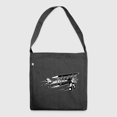 Airplane / Airplane 01_black white - Shoulder Bag made from recycled material