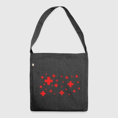 rotes plus - Schultertasche aus Recycling-Material