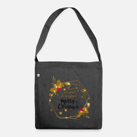 Christmas Bags & Backpacks - Merry Christmas - Merry Christmas - Shoulder Bag recycled heather black