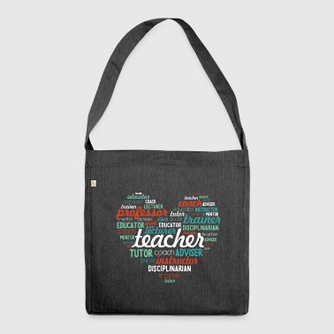 Teacher Shirt- Word Art - Shoulder Bag made from recycled material