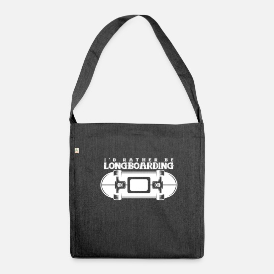 Gift Idea Bags & Backpacks - Longboard Longboarding Sk8 Longboarding - Shoulder Bag recycled heather black