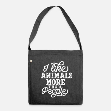 People I Like Animals Funny animal lovers saying - Shoulder Bag recycled