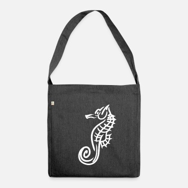 Sea Sea horse fish tattoo marin gift - Shoulder Bag recycled
