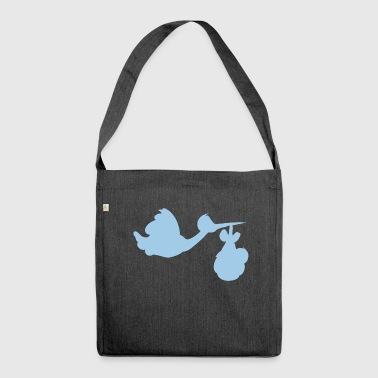 Storch mit Baby - Schultertasche aus Recycling-Material