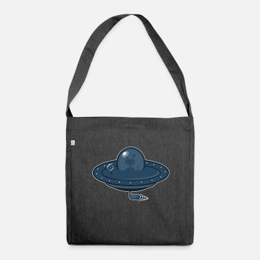 Wacky Flying saucer and Alien - Shoulder Bag made from recycled material