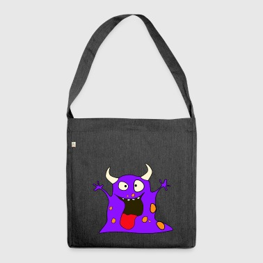Lila Monster - Schultertasche aus Recycling-Material