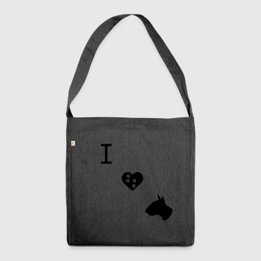 I LOVE BULLTERRIER BLACK - Cane idea regalo - Borsa in materiale riciclato