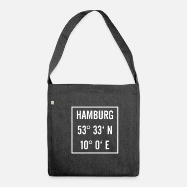 Longitude Hamburg knows with latitude and longitude - Shoulder Bag made from recycled material