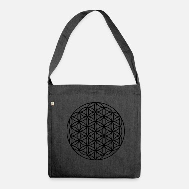 Circle flower sacred geometry black - Shoulder Bag made from recycled material