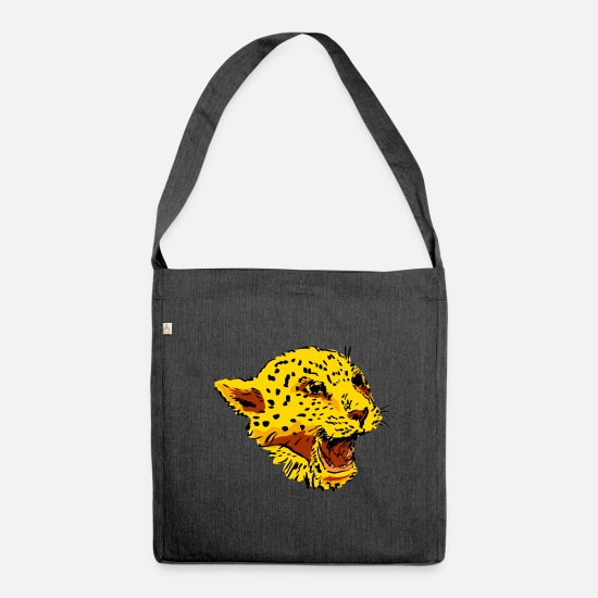 Gift Idea Bags & Backpacks - leopard - Shoulder Bag recycled heather black