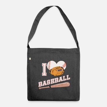Sport Baseball I love baseball glove sports - Shoulder Bag made from recycled material
