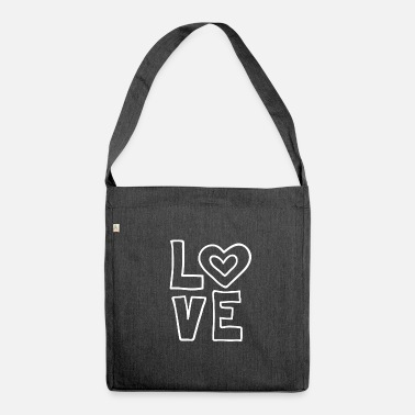Love Love love valentines day romantic heart heart kiss - Shoulder Bag recycled