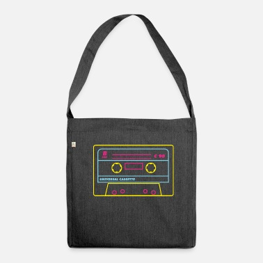 Audio Cassette Cassette Audio 80s / Neon - Shoulder Bag made from recycled material