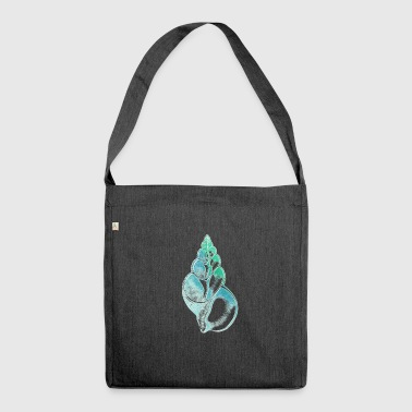 shell seashell ocean sea turquoise blue green - Shoulder Bag made from recycled material