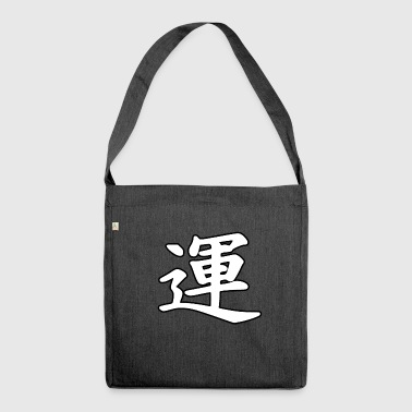 Luck kanji / luck kanji, white - Shoulder Bag made from recycled material