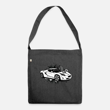 Sportscar Cool white sportscar - Shoulder Bag made from recycled material
