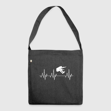 Heartbeat ECG long jump long jump athlete - Shoulder Bag made from recycled material